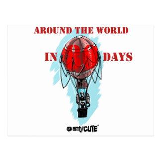 rond de wereld in de ballon van de tachtig briefkaart