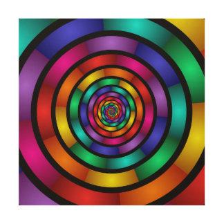 Rond en Psychedelisch Kleurrijk Modern Fractal Hout Afdruk