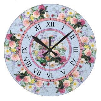 Ronde muurklok - bloemenontwerp grote klok