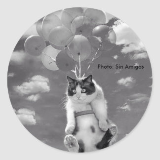 Ronde Sticker: Grappige kat die met Ballons Ronde Sticker