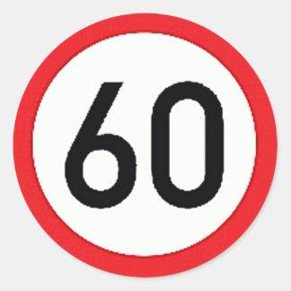 Ronde sticker met maximum snelheid 60 teken