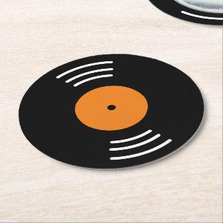 Ronde vinyl het document van het muziekverslag ronde onderzetter