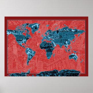 rood 2 van de wereldkaart poster
