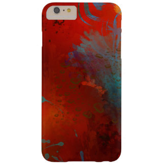 Rood, Aqua & Gouden Abstract Art. Grunge Barely There iPhone 6 Plus Hoesje