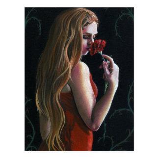 Rood Carnation van Dame Flower Red Rose Gotisch Briefkaart