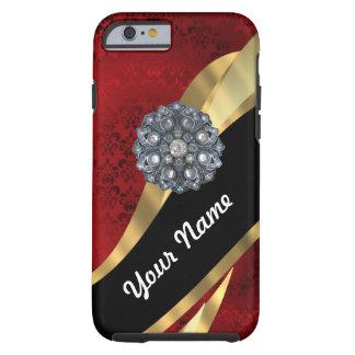 Rood damast & goud tough iPhone 6 hoesje