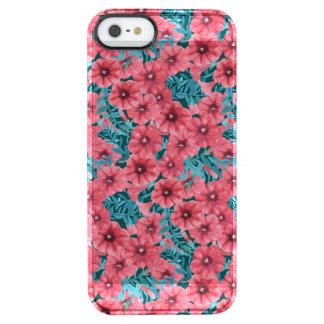 Rood de bloempatroon van de waterverfpetunia doorzichtig iPhone SE/5/5s hoesje