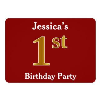Rood, de Gouden 1st Partij van de Verjaardag Faux 12,7x17,8 Uitnodiging Kaart