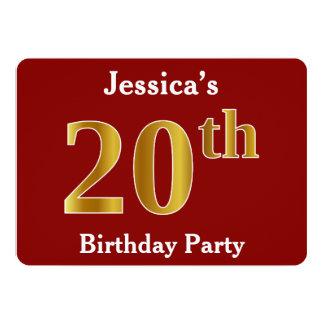 Rood, de Gouden 20ste Partij van de Verjaardag 12,7x17,8 Uitnodiging Kaart