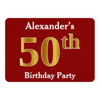 Rood, de Gouden 50ste Partij van de Verjaardag 12,7x17,8 Uitnodiging Kaart