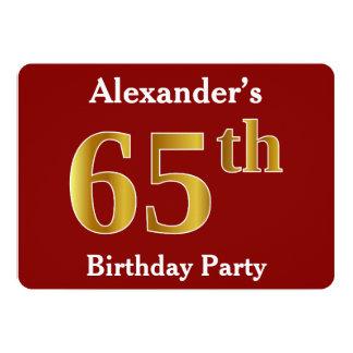 Rood, de Gouden 65ste Partij van de Verjaardag 12,7x17,8 Uitnodiging Kaart