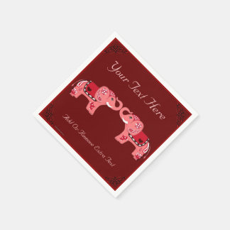 (Rood/de Roze) Olifant van de henna Wegwerp Servetten