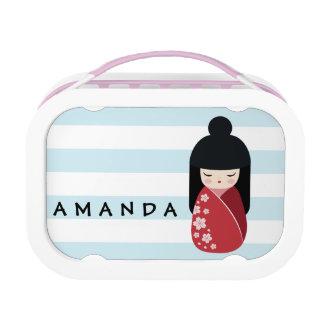 ROOD Doll Kokeshi - het Leuke Japanse Meisje van Lunchbox