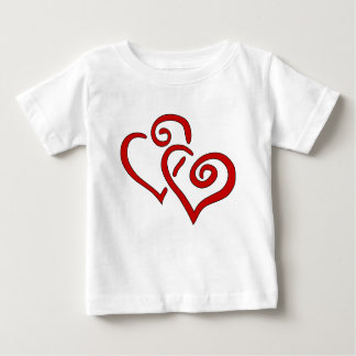 Rood Dubbel Hart Baby T Shirts