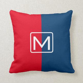 Rood en Blauw Monogram Met twee tonaliteiten Sierkussen