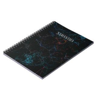 Rood en Blauw Veelhoekig Patroon Notitieboek