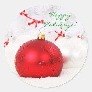 Rood en Wit Gelukkig Vakantie I van Kerstmis Ronde Sticker