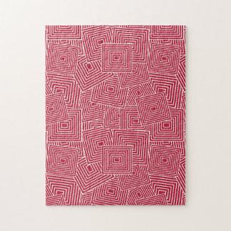 Rood en Wit Geometrisch Vierkant Patroon Foto Puzzels