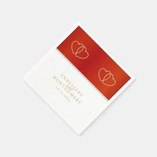 Rood en Wit met Gouden Harten Wegwerp Servet