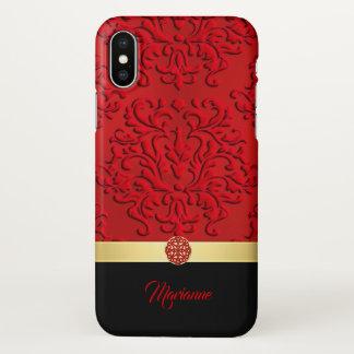 Rood en Zwart Damast en Keltische iPhone X van de