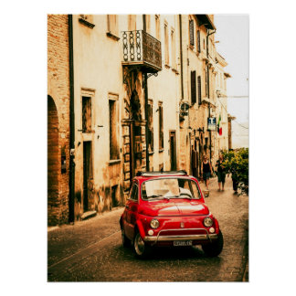 Rood Fiat 500 Poster, vintage cinquecento, Italië Poster