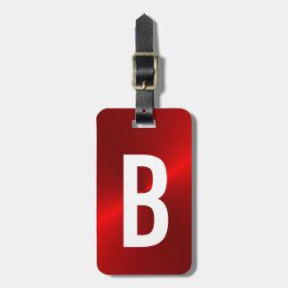 Rood Geborsteld Metaal Aanvankelijk Monogram Bagagelabel