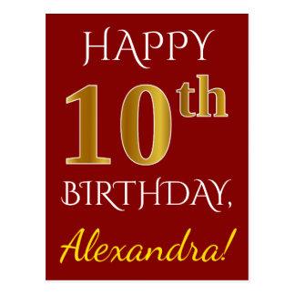 Rood, Gouden 10de Verjaardag Faux + De Naam van de Briefkaart