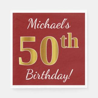 Rood, Gouden 50ste Verjaardag Faux + De Naam van Papieren Servet