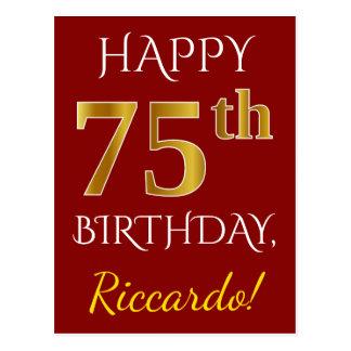 Rood, Gouden 75ste Verjaardag Faux + De Naam van Briefkaart