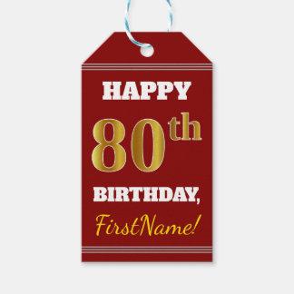 Rood, Gouden 80ste Verjaardag Faux + De Naam van Cadeaulabel