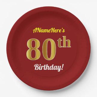 Rood, Gouden 80ste Verjaardag Faux + De Naam van Papieren Bordje