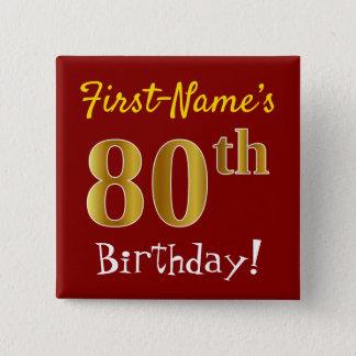 Rood, Gouden 80ste Verjaardag Faux, met de Naam Vierkante Button 5,1 Cm