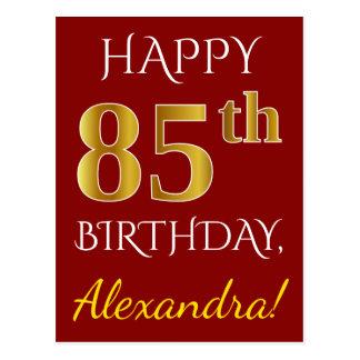 Rood, Gouden 85ste Verjaardag Faux + De Naam van Briefkaart