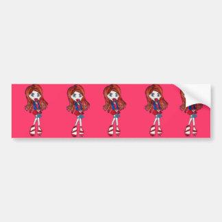 Rood Haired Meisje Fashionista Bumpersticker