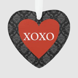 Rood Hart XOXO op Damast Ornament