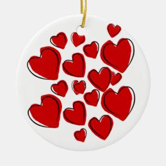 Rood hartOrnament met liefde Rond Keramisch Ornament