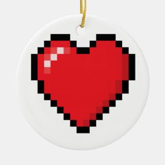 Rood het videospelletjehart van Pixelated Rond Keramisch Ornament