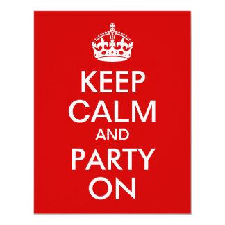 Rood houd Rust en Partij op Verjaardag 10,8x13,9 Uitnodiging Kaart