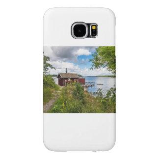 Rood houten plattelandshuisje in Zweden Samsung Galaxy S6 Hoesje