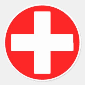 rood kruis ronde sticker