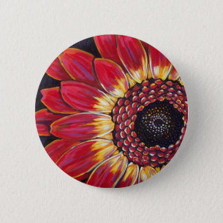 ROOD MADELIEFJE GERBER RONDE BUTTON 5,7 CM