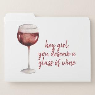 Rood meisje, je verdient een glaasje wijn. documentenmap