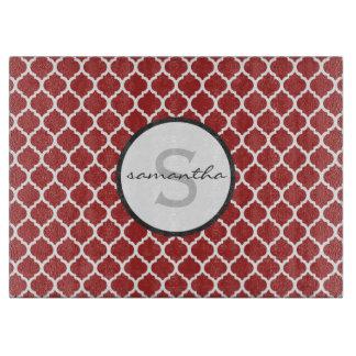 Rood Monogram Quatrefoil Snijplank