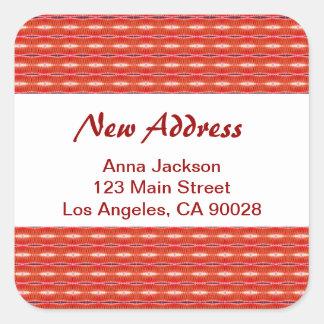 Rood Nieuw Adres Vierkante Sticker