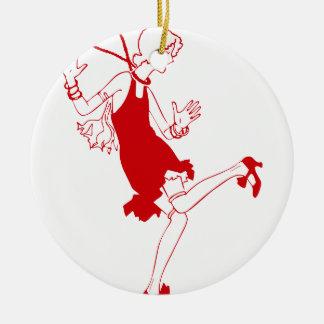 rood vinmeisje rond keramisch ornament