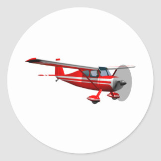 Rood Vliegtuig Ronde Sticker