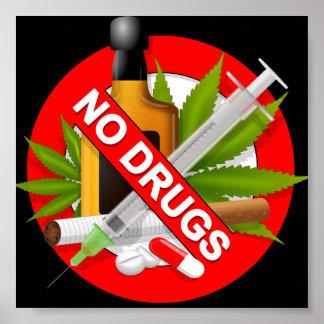 Rood Waarschuwingssein met Drugs Poster