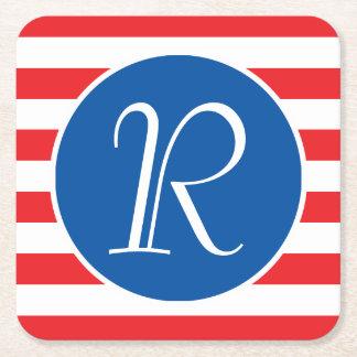 Rood Wit & Blauw Monogram Vierkante Onderzetter