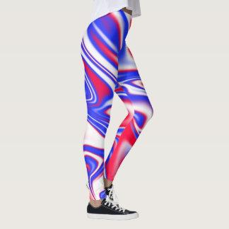 Rood Wit Blauw Vloeibaar Marmeren Patroon, Leggings