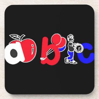 Rood, Wit, Blauw & Zwart, het Logo van het Alfabet Bier Onderzetter